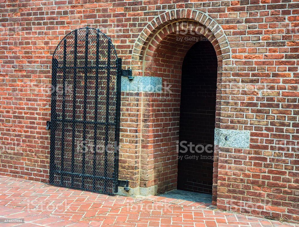 Fort McHenry Civil War Jail With Wrought Iron Gate stock photo