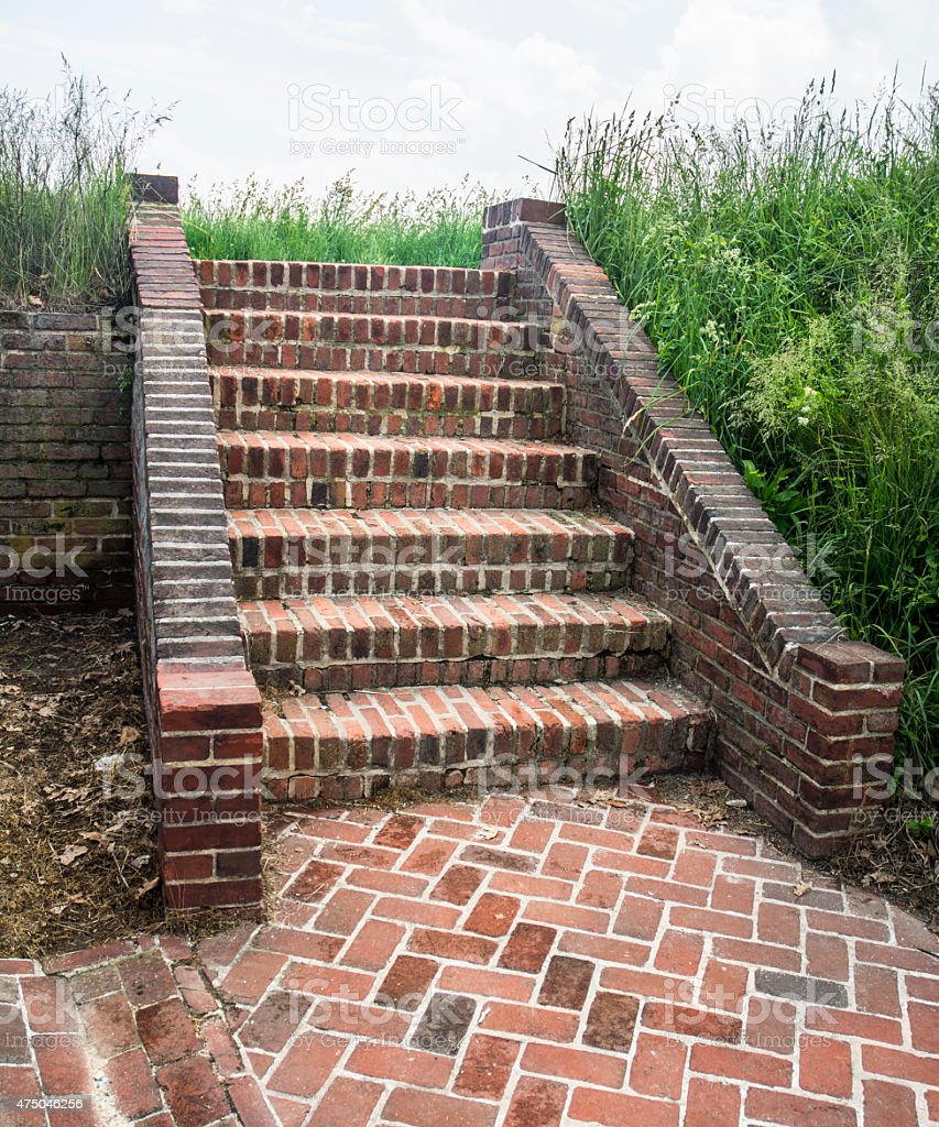 Fort McHenry Civil War Monument Rustic Red Brick Stairs stock photo