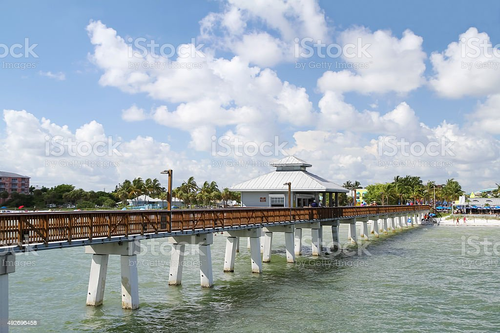 Fort Myers Beach Pier on a beautiful summer day stock photo