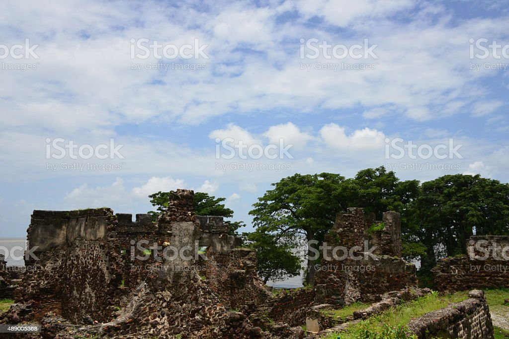 Fort on James Island / Kunta Kinteh island, Gambia stock photo