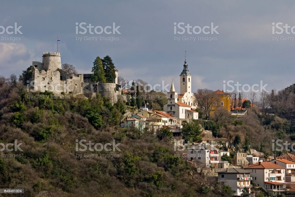 Fort on the hill above town stock photo