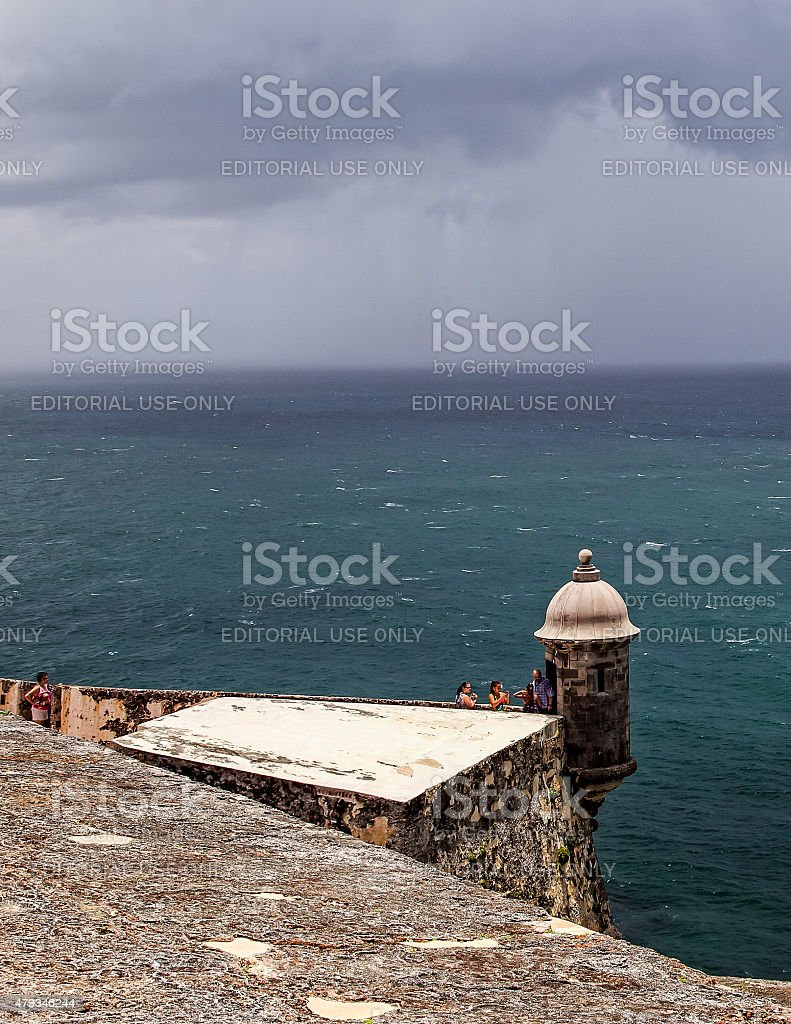 Fort Overlooking the Caribbean Sea stock photo