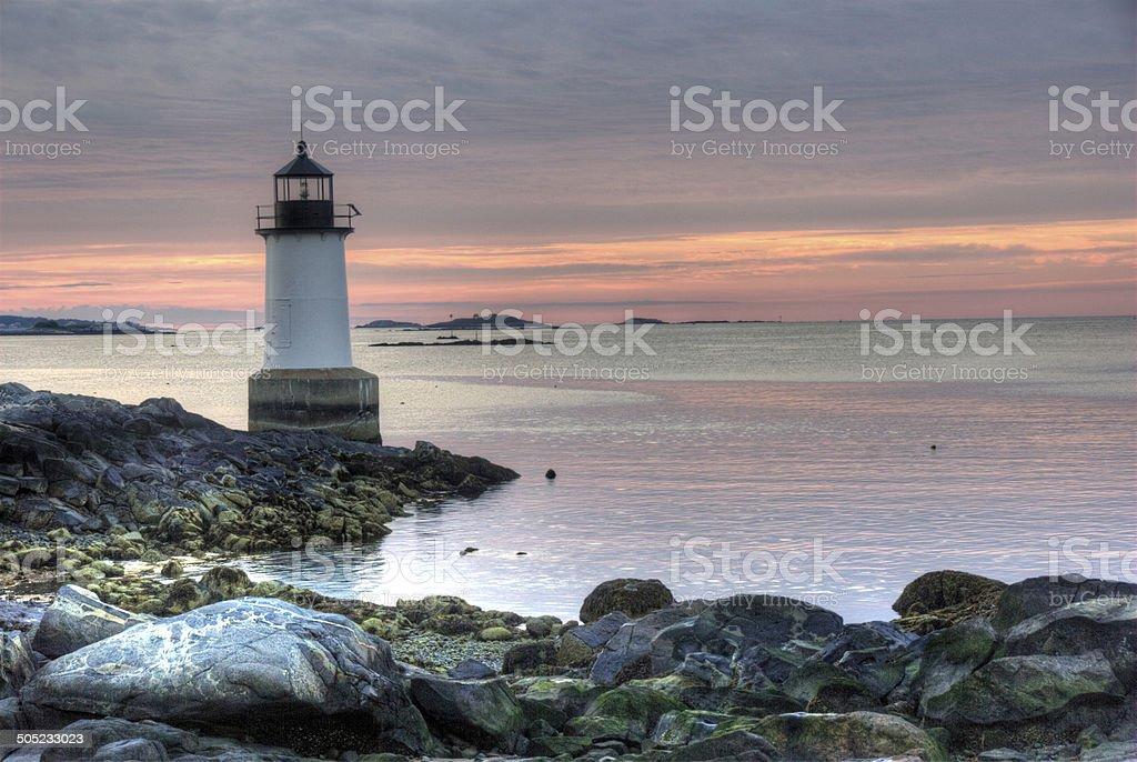 Fort Pickering Lighthouse in Salem, Massachusetts stock photo