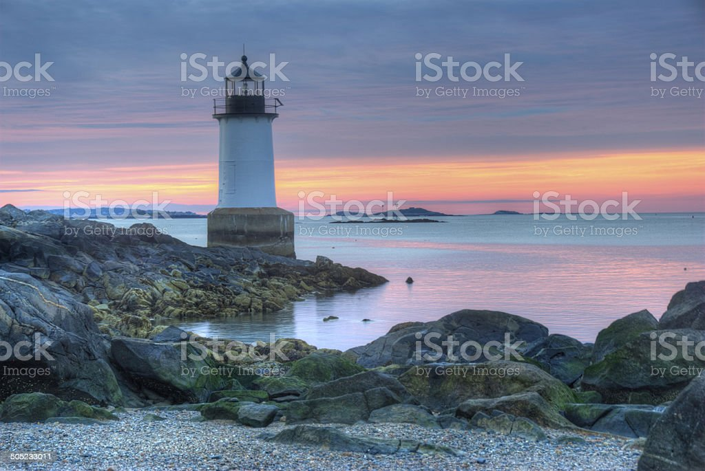 Fort Pickering Lighthouse Salem Massachusetts Sunrise stock photo