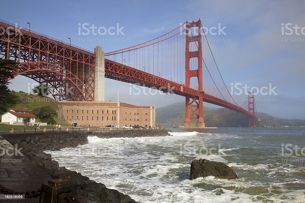 Fort point and Golden Gate Bridge (CA) royalty-free stock photo