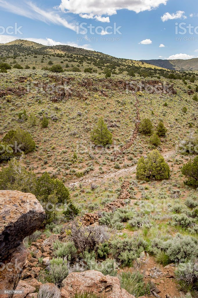 Fort Sage Drift fence, Nevada stock photo