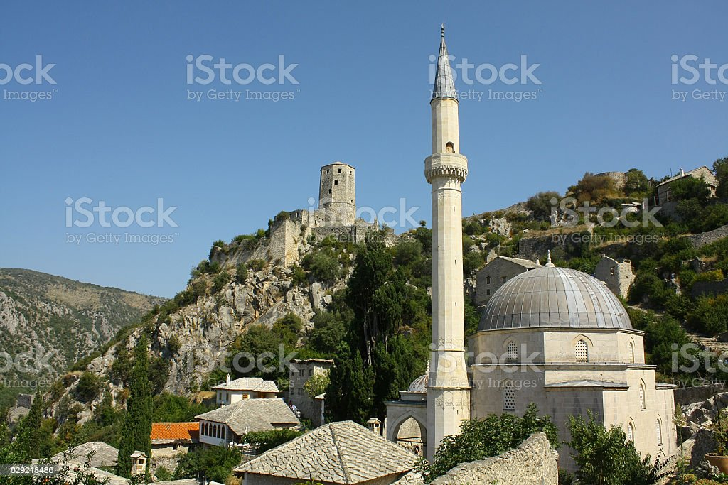 Fort Sahat-kula, Mosque Hadzi-Alija, Pocitelj,Bosnia and Herzegovina stock photo