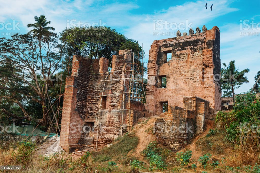 Fort Thomas Ruins in a cloud flyffy sky sunny day, Kollam, Kerala stock photo