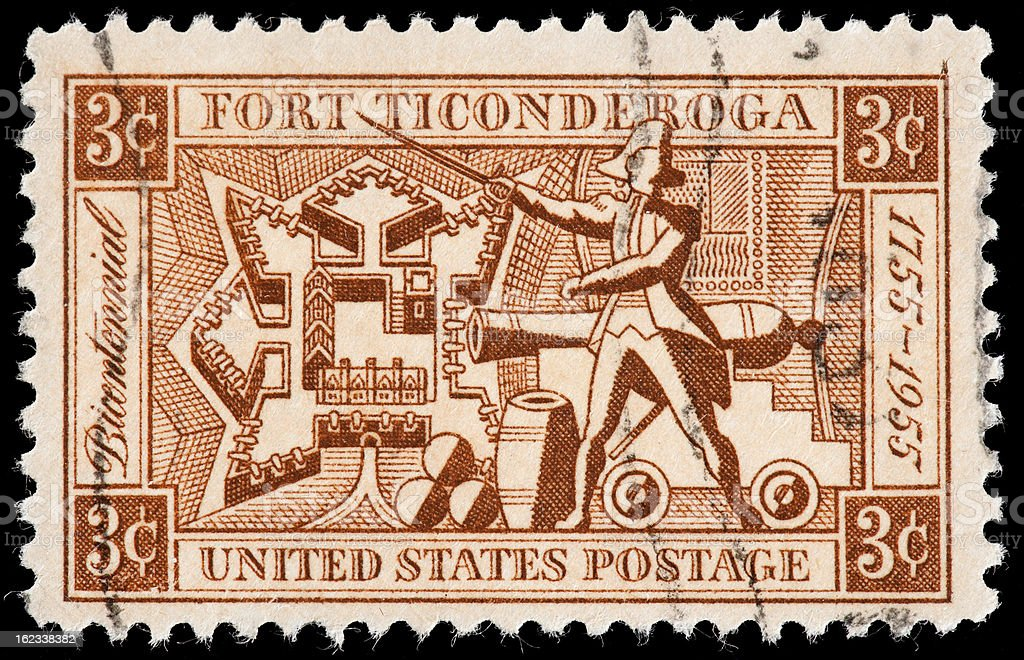 Fort Ticonderoga, Soldier, Cannon Commemorated on American Vintage Postage Stamp stock photo