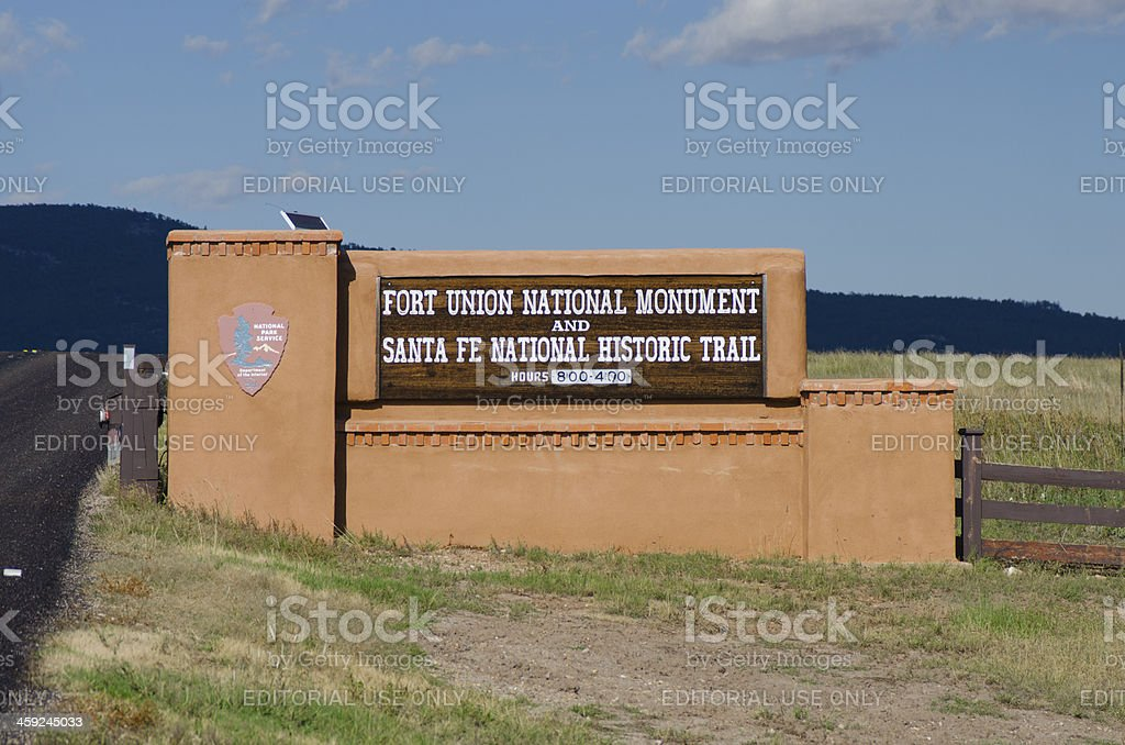 Fort Union Entrance Sign stock photo