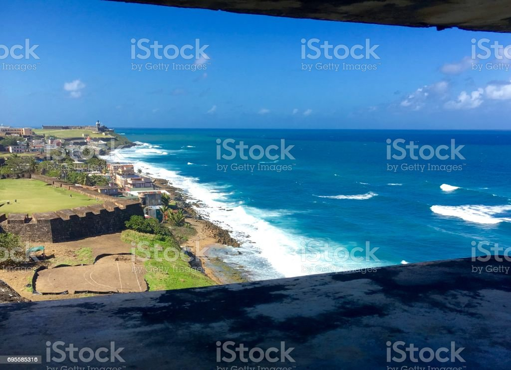 Fort view of San Juan and the Caribbean stock photo
