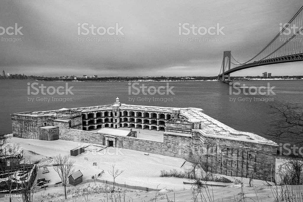 Fort Wadsworth and Verrazano-Narrows Bridge stock photo