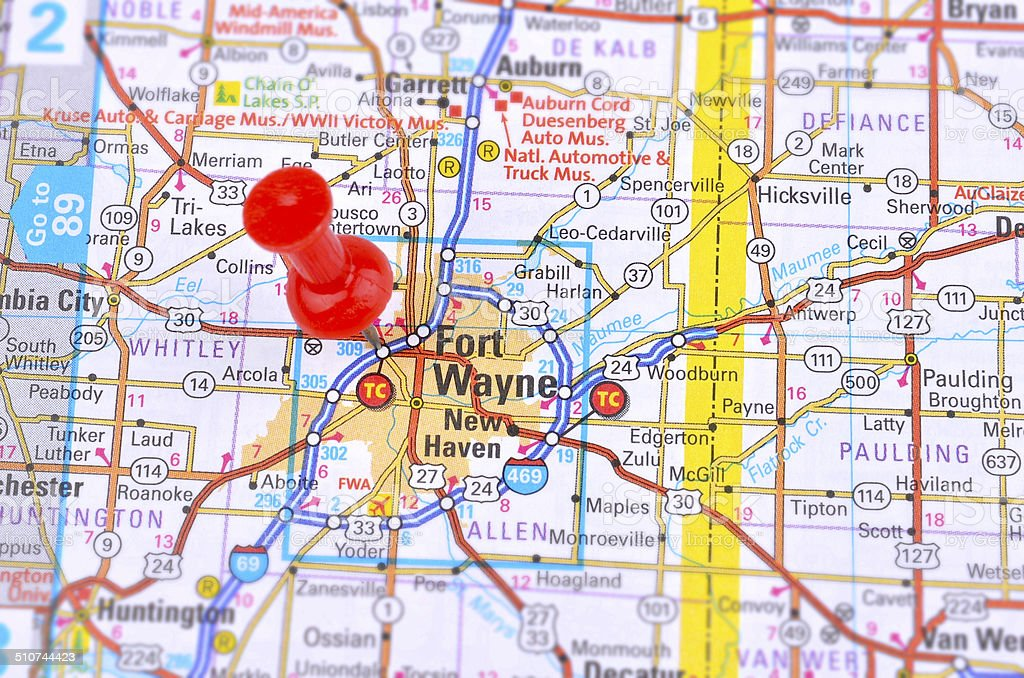 Fort Wayne and Map stock photo