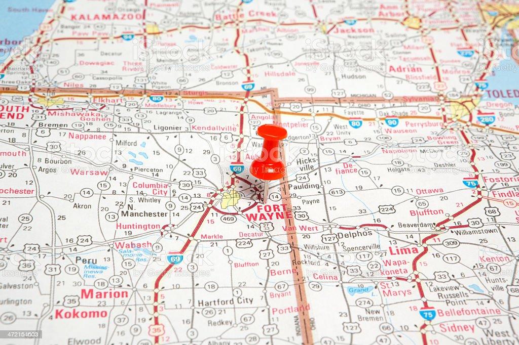 Fort Wayne, Indiana on Road Map stock photo