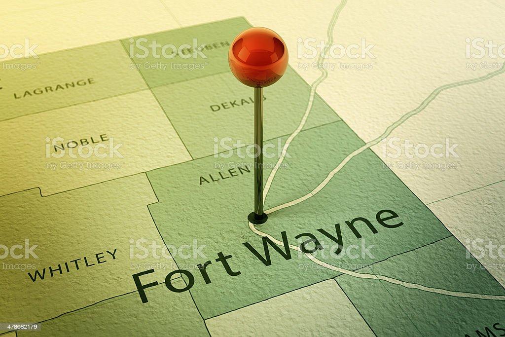Fort Wayne Map City Straight Pin Vintage stock photo