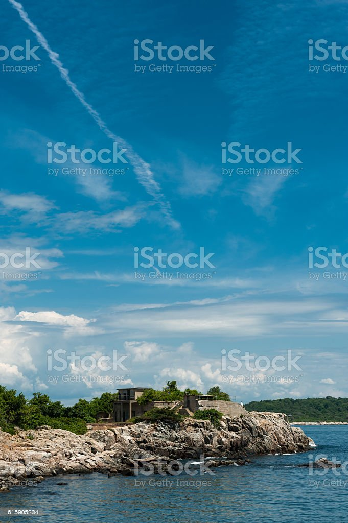 Fort Williams Park in Cape Elizabeth, Maine stock photo