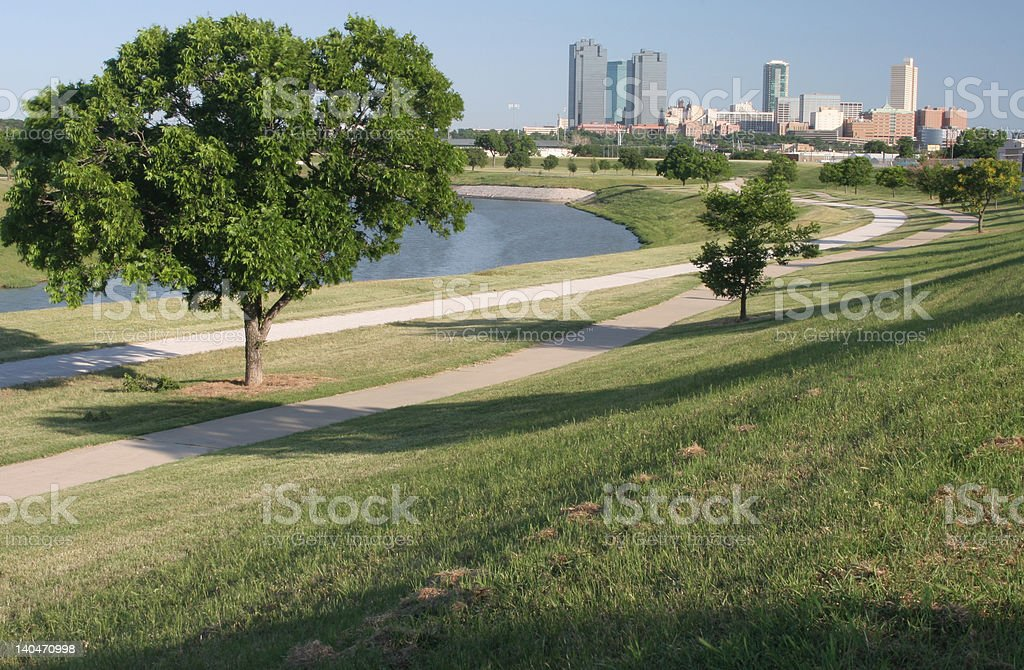 Fort Worth and Trinity River royalty-free stock photo