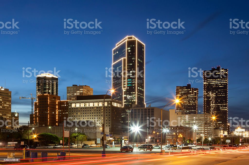Fort Worth downtown at night. Texas, USA stock photo