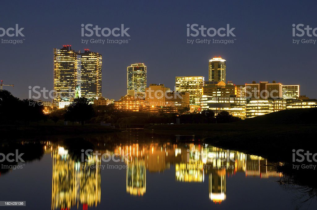 Fort Worth Downtown evening skyline stock photo