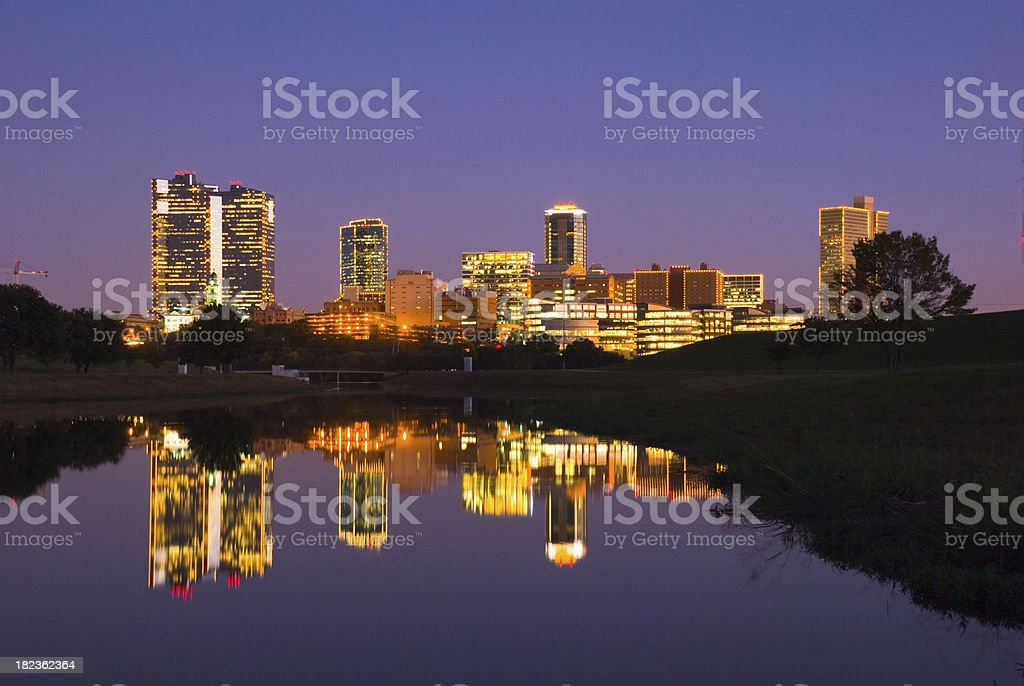Fort Worth downtown skyline at dusk stock photo