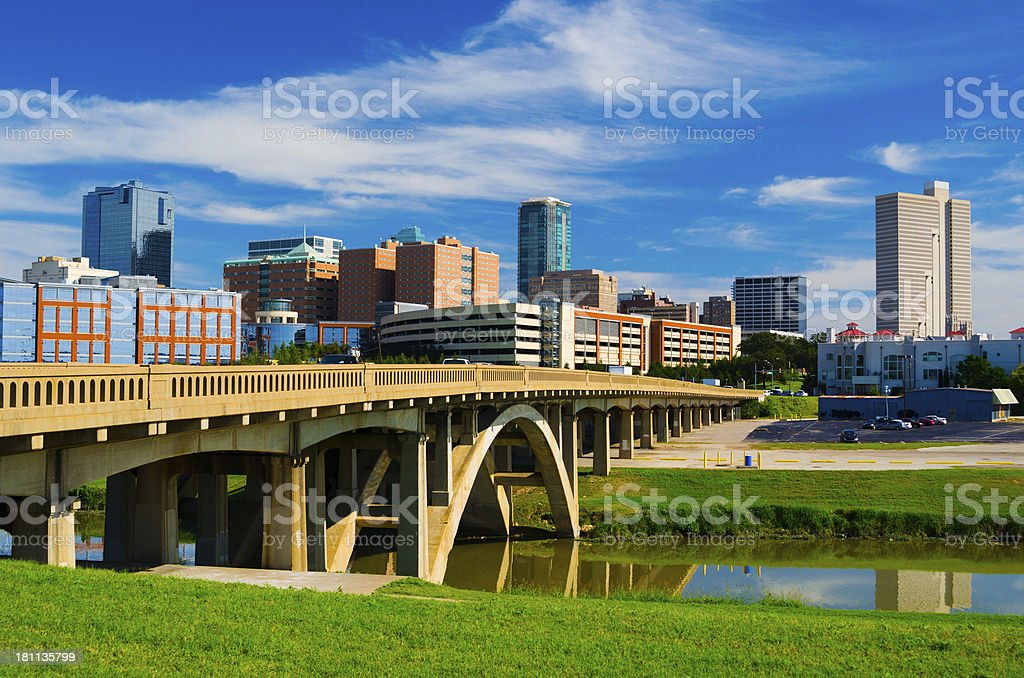 Fort Worth skyline and bridge stock photo