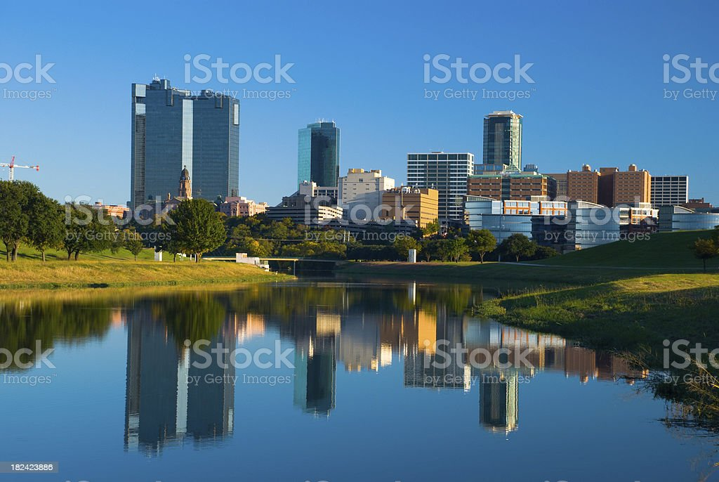 Fort Worth skyline and river royalty-free stock photo