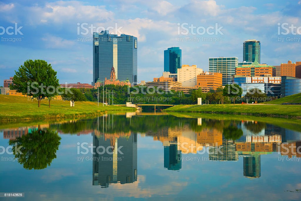 Fort Worth skyline and River stock photo