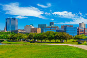 Fort Worth skyline cityscape with spring foliage,TX