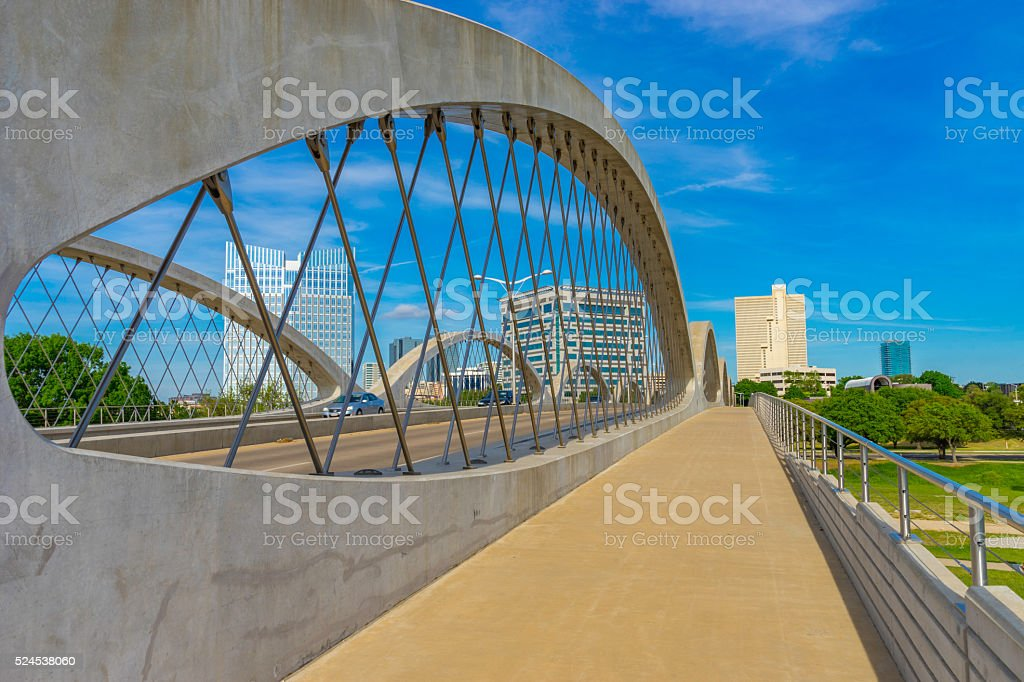 Fort Worth skyline cityscape with spring foliage,TX (P) stock photo
