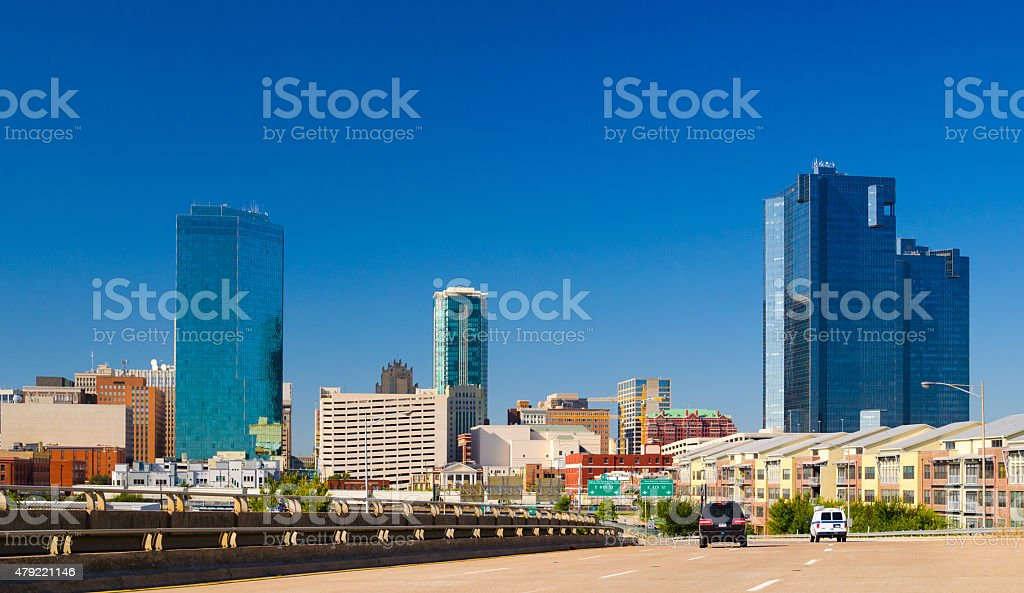 Fort Worth skyline from a street stock photo