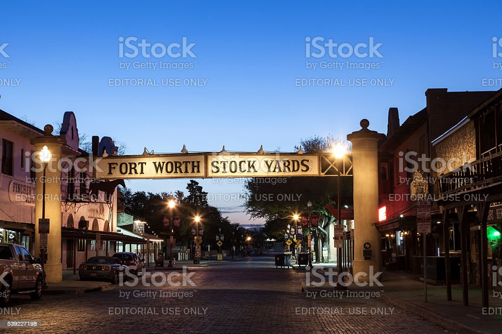 Fort Worth Stockyards at night stock photo