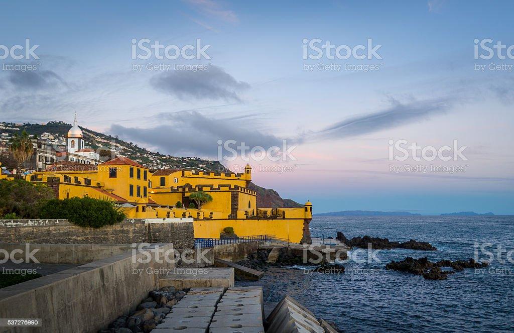 Forte de Sao Tiago at sunset, Madeira island, Funchal. stock photo