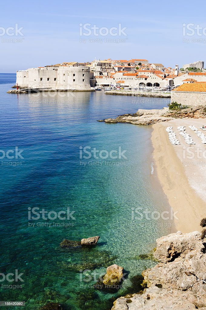 Fortefied medieval city of Dubrovnik, Croatia stock photo
