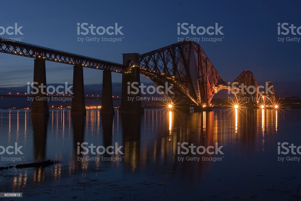 Forth Bridge at dusk stock photo