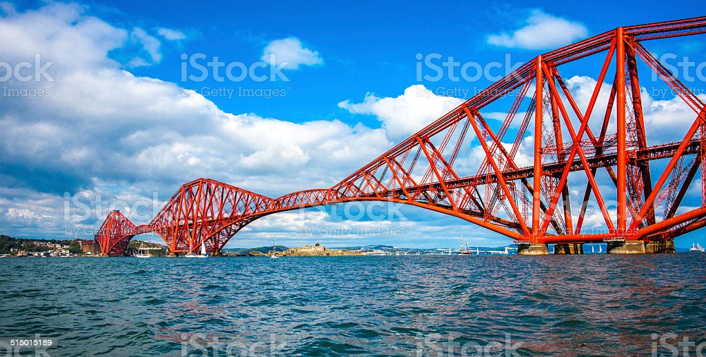 Forth Bridge from the water stock photo