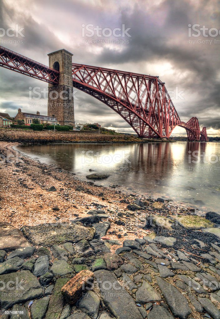 Forth bridge in Edinburgh stock photo