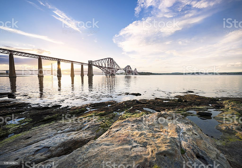 Forth Bridges at Sunset stock photo
