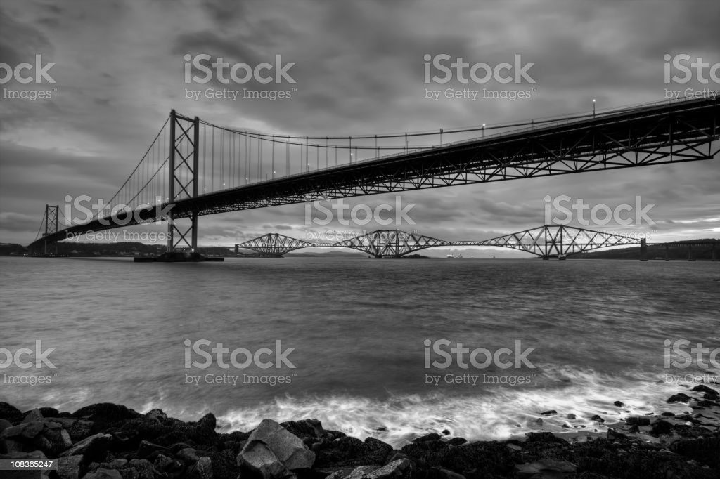 Forth Bridges from Port Edgar, near Queensferry. stock photo