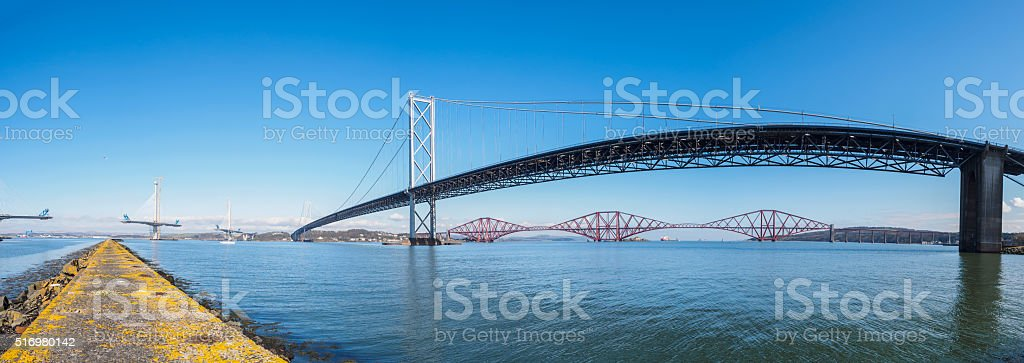 Forth Bridges Panorama. stock photo