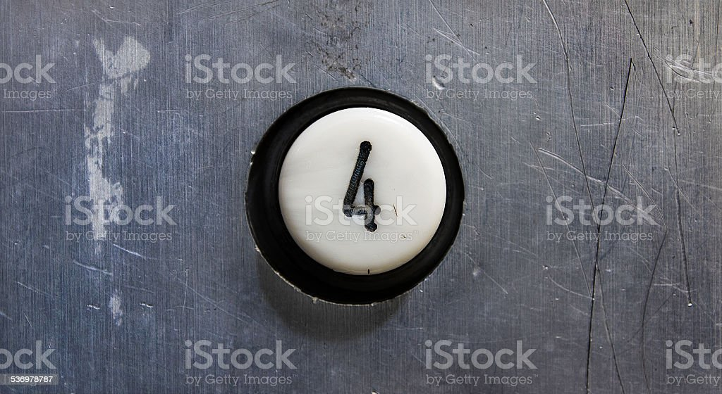Forth floor button stock photo