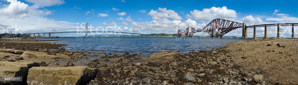 Forth Rail and Road Bridges royalty-free stock photo