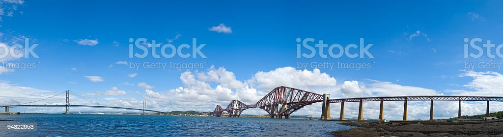 Forth rail and road bridges stock photo