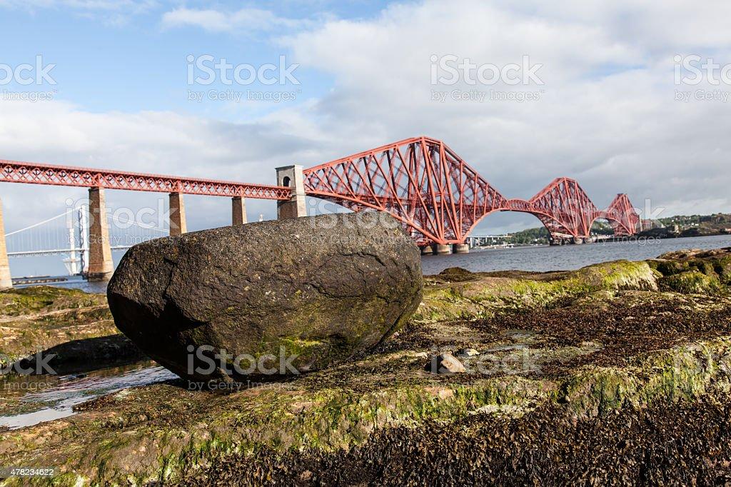 Forth Rail Bridge and a Rock stock photo