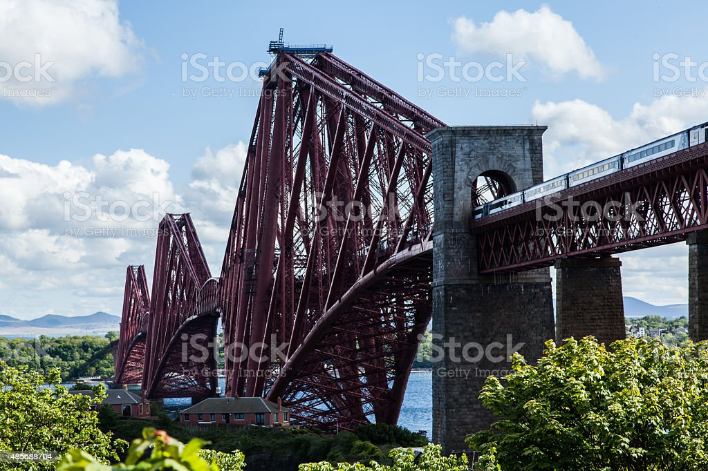 Forth Rail Bridge and Train stock photo