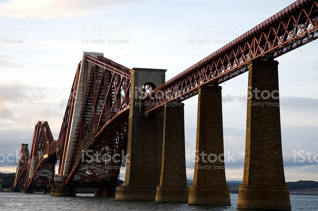 Forth Rail Bridge at Dusk stock photo