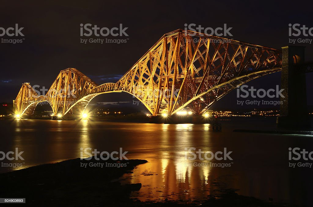 Forth Rail Bridge at Night. stock photo