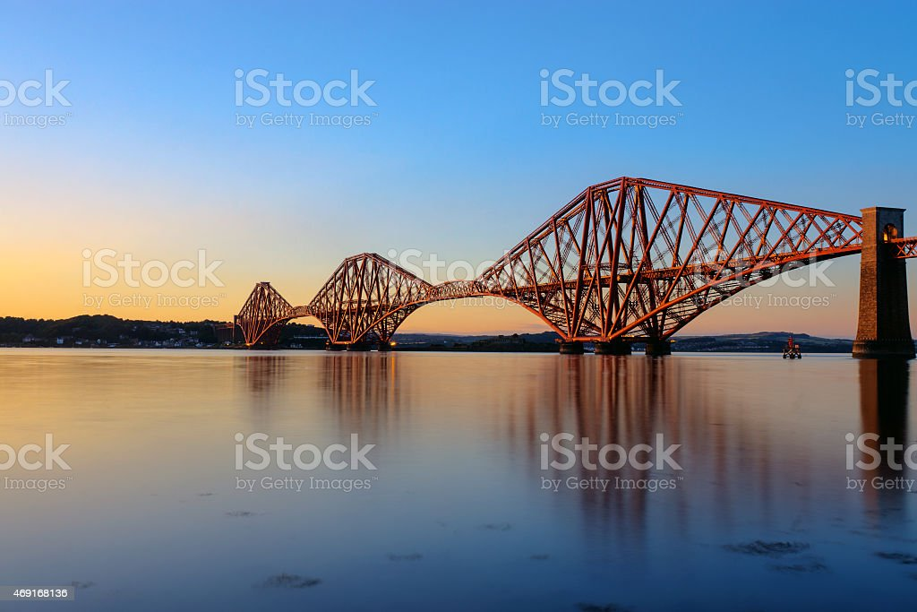 Forth Rail Bridge at sunset stock photo