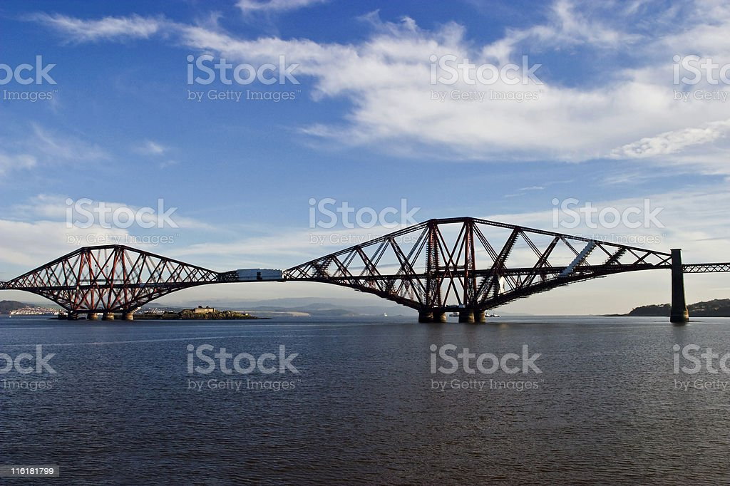 Forth rail bridge on the sea made of metal stock photo