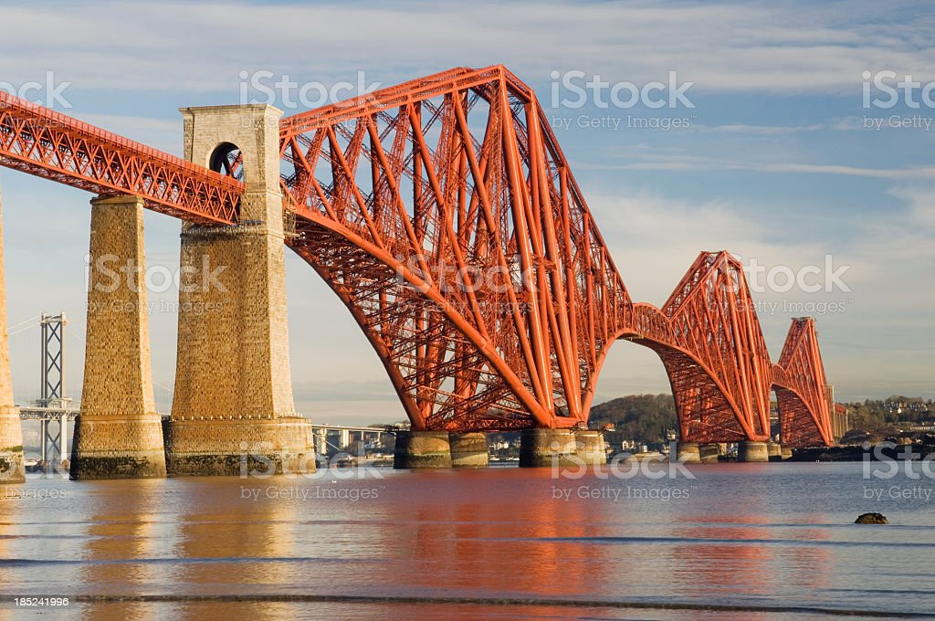 Forth Rail Bridge over still water stock photo