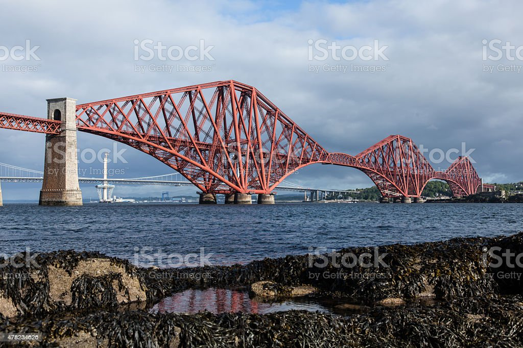 Forth Rail Bridge South Queensferry with the tide out stock photo